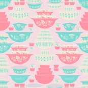 Pink and Turquoise Pyrex