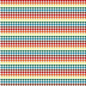 "Houndstooth - Chocolate Rainbow 1/2"" on White"