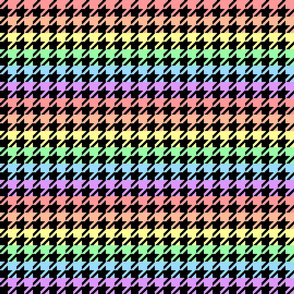 "Houndstooth - Pastel Rainbow 1"" on Black"