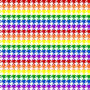 "Houndstooth - Rainbow 1"" on White"
