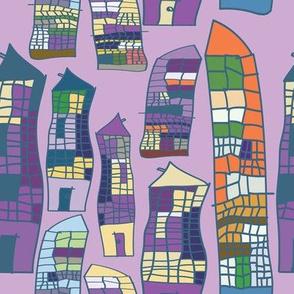 Skyscrapers purple