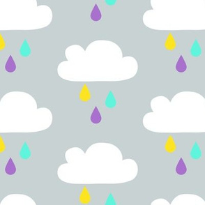Colourful Rain - GreyBlue Big