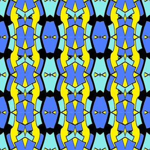 Geomoetric Large - yellow, blue, turquoise