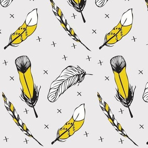happy feather yellow gray - elvelyckan