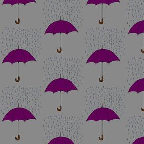 Umbrella and Raindrops- Purple
