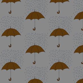 Umbrella and Raindrops- Brown