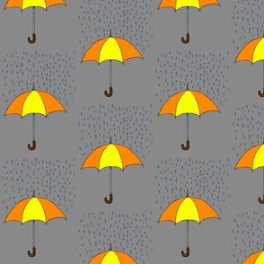 Umbrella and Raindrops- Yellow and Orange