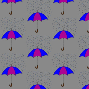 Umbreallas and Raindrops- Blue and Purple
