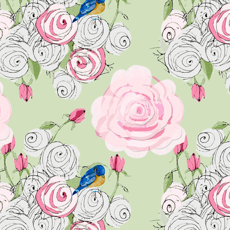 Shabby Chic Roses and Bluebirds