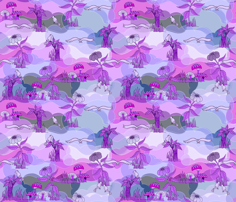 Purple dinosaur world wallpaper art on fabric spoonflower for Purple dinosaur fabric