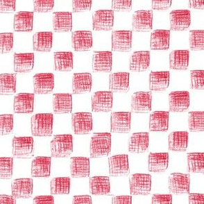Christmas white and red sketched checkerboard
