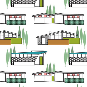 Mid century houses 6 inch wallpaper for Cristi