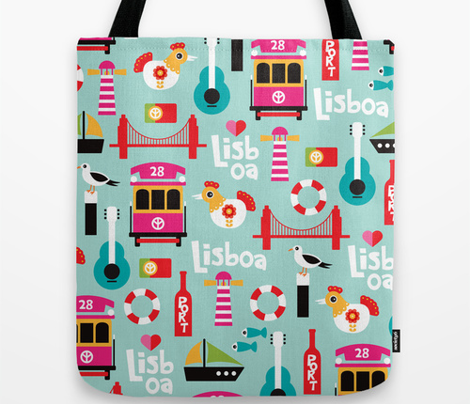 Colorful retro style lisbon lisboa travel icons illustration pattern