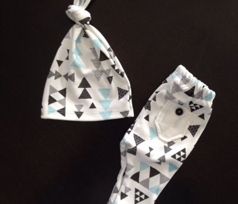 Geometric pastel blue bow tie and triangle tribal illustration pattern for boys or home decor