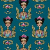 Frida Kahlo Pattern - Teal