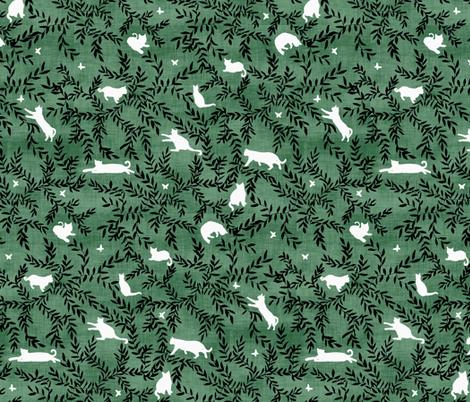 Cats & Butterflies Green