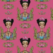 Frida Kahlo with Skulls - pink