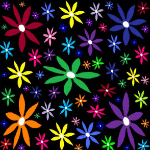 Colorful Retro Flowers on Black Oil Pastel