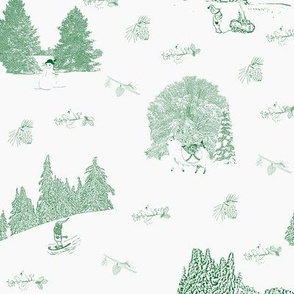 Winter Solstice - Green Toile Du Jouy