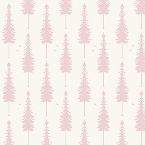 evergreen with birds, ivory and blush