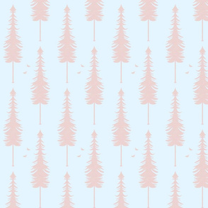 evergreen with birds, light blue and blush