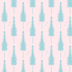 evergreen with birds, blush and turquoise