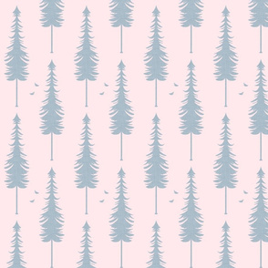evergreen with birds, slate linen and blush