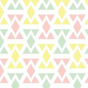 Geometric Triangle Diamonds - Peach, Lemon, and Pistachio