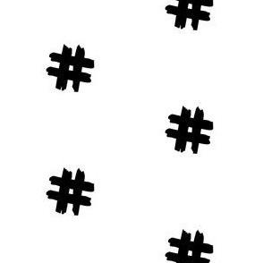 black hashtag on white