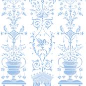 Greek Trellis ~ Jasper Blue and White