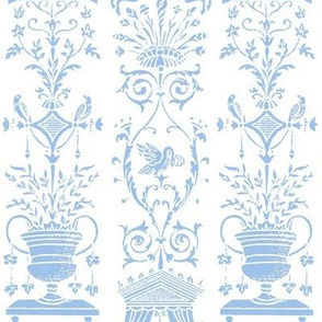 Greek Trellis ~ Jasper Blue and White