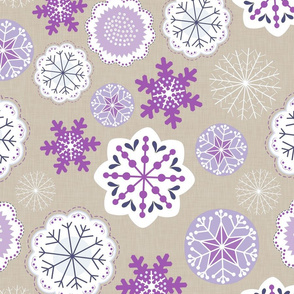 Snowflake Flowers Purple