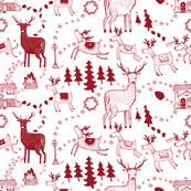 Winter toile prancing deers