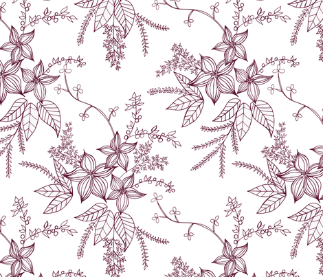 Holiday Vintage Flowers (Toile de Jouy)