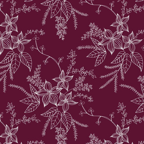 Holiday Vintage Flowers in Burgandy
