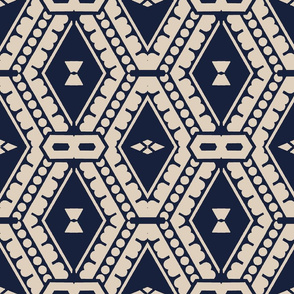 Tribal Geometric in Blue and White