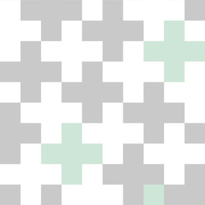 Wholecloth Plus Quilt Top // Mint and Grey
