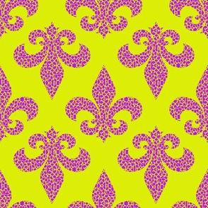 Funky Fleur De Lis Purple/Lime