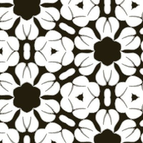 White Flowers over Black