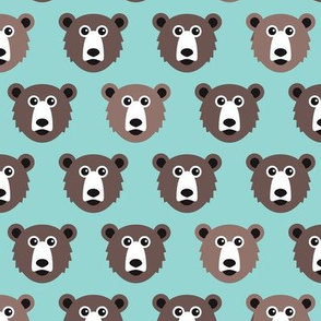 Cute blue retro style grizzly winter bear illustration pattern
