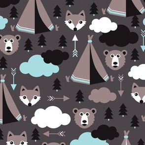 geometric teepee tent fox arrows and woodland scandinavian bear illustration pattern in blue