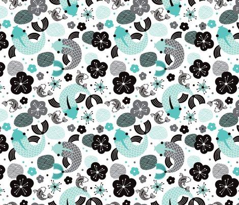 Koi carp japanese fish illustration asian pattern print in for Koi fish print fabric