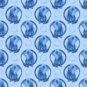 Collared Cocker Spaniel portraits - blue