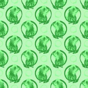 Collared Cocker Spaniel portraits - green