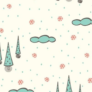 Snowy Forrest - cream