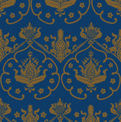 Gothic Damask ~ Cologne ~ Gold Embroidery on Lonely Angel Blue