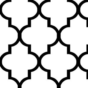 Large Scale Black and White Quatrefoil