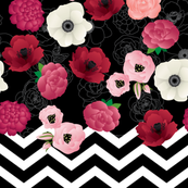 black & flowers chevron