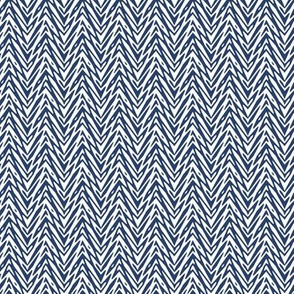 mini feather herringbone in navy and white