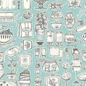 SKetchy Vinatge Kitchen- Blue